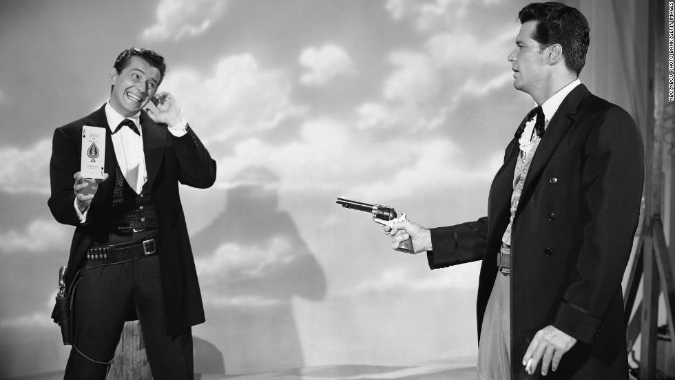 "Garner, right, plays Bret Maverick in a scene from the ""Maverick"" TV series, which aired in the late 1950s and early '60s. It was revived in the 1980s."