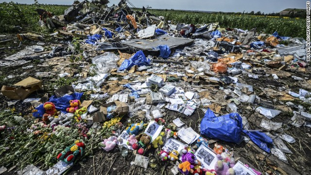 Flowers, soft toys along with pictures are left amongst the wreckage at the site of the crash of a Malaysia Airlines plane carrying 298 people from Amsterdam to Kuala Lumpur, in Grabove, in the region of Donetsk on July 20, 2014.