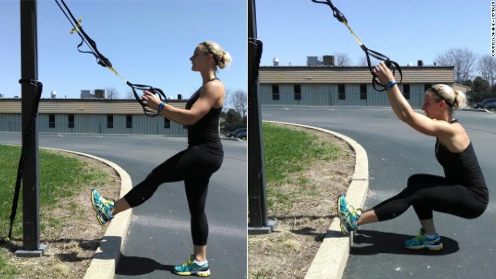 "TRX single-leg squats will give you the leg and upper body power needed for this event. With your <a href=""https://www.trxtraining.com/"" target=""_blank"">TRX Suspension Trainer</a> at mid-length, stand facing the anchor point and center one foot. Keeping the working knee in line with your middle toes, lower the hips down and back. Keeping an upright posture, use the suspension trainer and your leg strength to help pull you back to the starting position."