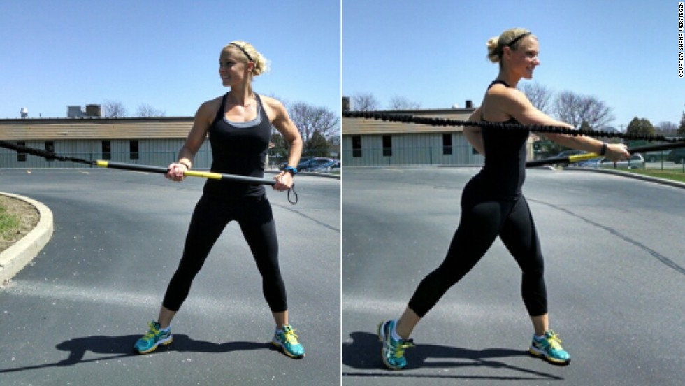 The TRX Rip Trainer is designed to build rotational stability, speed and power, Verstegen says, which is exactly what an axman needs. Grasp the trainer with your left hand palm down at the very end, and the right hand palm up in the middle, while standing sideways. By simultaneously pushing and pulling, drive the power end of the trainer to the other side of your body.
