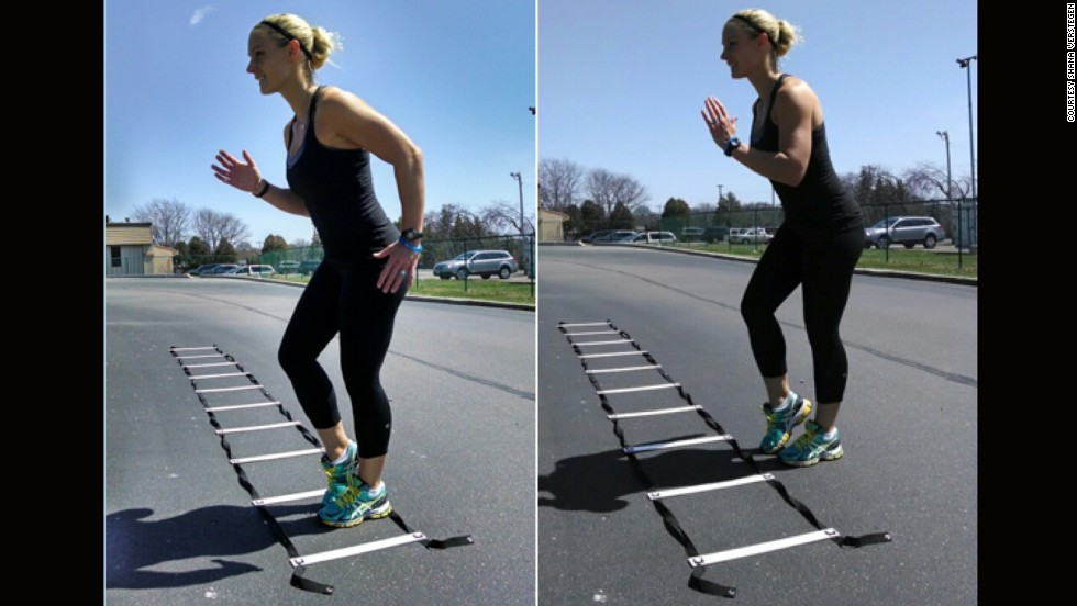 Logrolling is all about balance, agility and foot speed, which can be gained using an agility ladder.  Standing sideways in the ladder, take four fast steps inside the ladder, then four fast steps outside, moving from rung to rung.