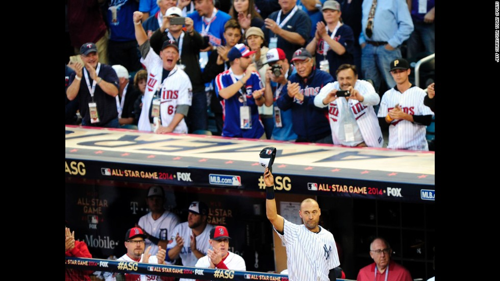 New York Yankees shortstop Derek Jeter waves to fans Tuesday, July 15, as he leaves the Major League Baseball All-Star Game in Minneapolis. It was the final All-Star appearance for Jeter, who said he is retiring at the end of this season.