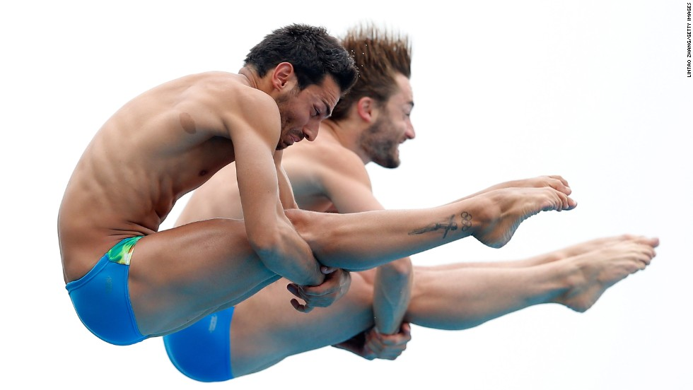 Synchronized divers Francesco Dell'uomo and Maicol Verzotto of Italy compete in the FINA Diving World Cup event Wednesday, July 16, in Shanghai, China. They finished 13th in the 10-meter platform, which was won by China's Yue Lin and Yuan Cao.