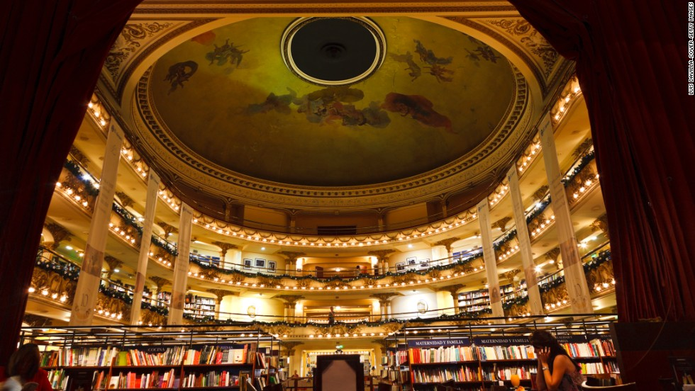 Stunning El Ateneo bookstore in Buenos Aires was once a theater. The theater boxes have been turned into reading spaces.