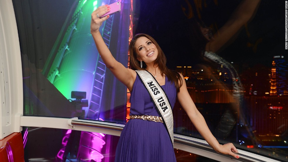 "Miss USA Nia Sanchez takes a selfie while on the ""High Roller"" Ferris wheel Saturday, July 19, in Las Vegas. At 550 feet, the High Roller is the tallest observation wheel in the world."