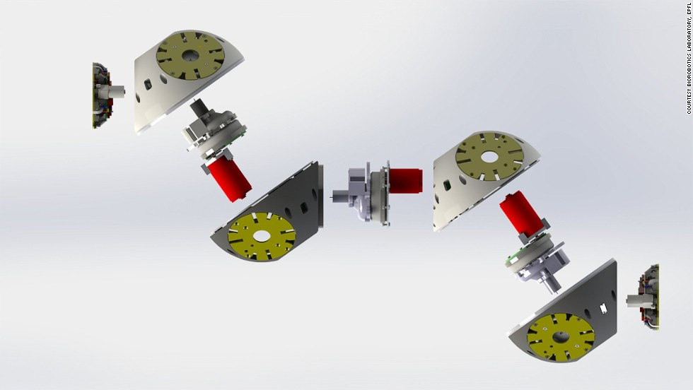 Pictured, the individual components of a Roombots module.
