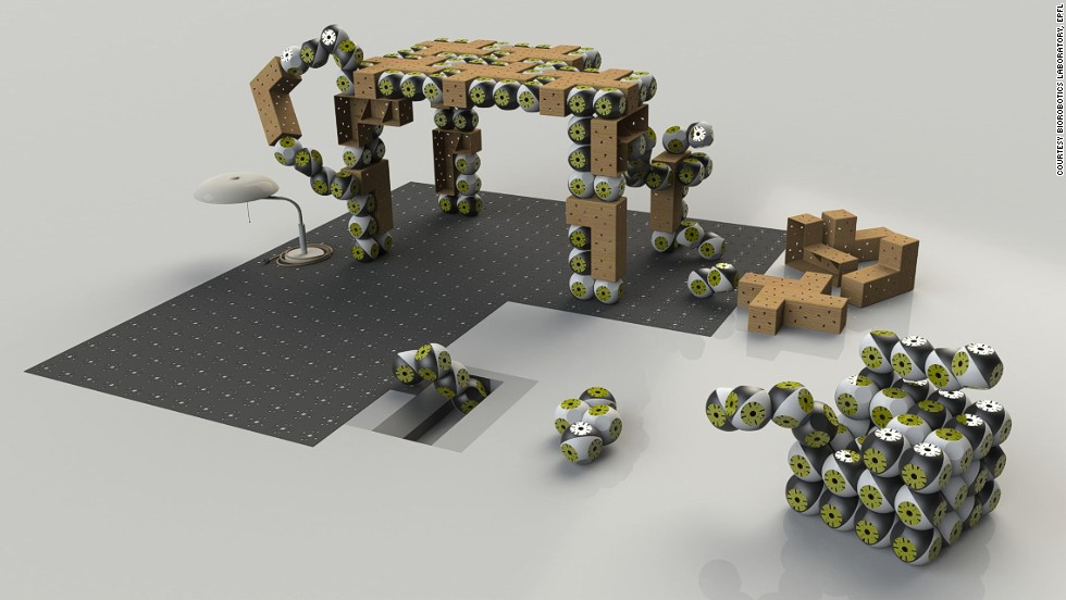 The Roombots would be coupled with passive materials -- such as a cushion -- to create complete furnishings.