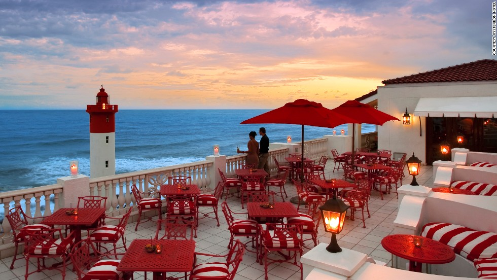With panoramic views of the Indian Ocean along Umhlanga Beach, The Lighthouse Bar at The Oyster Box hotel in Durban, South Africa, is a top spot for romantics, shutterbugs and those who just like to sit, sip and smile.