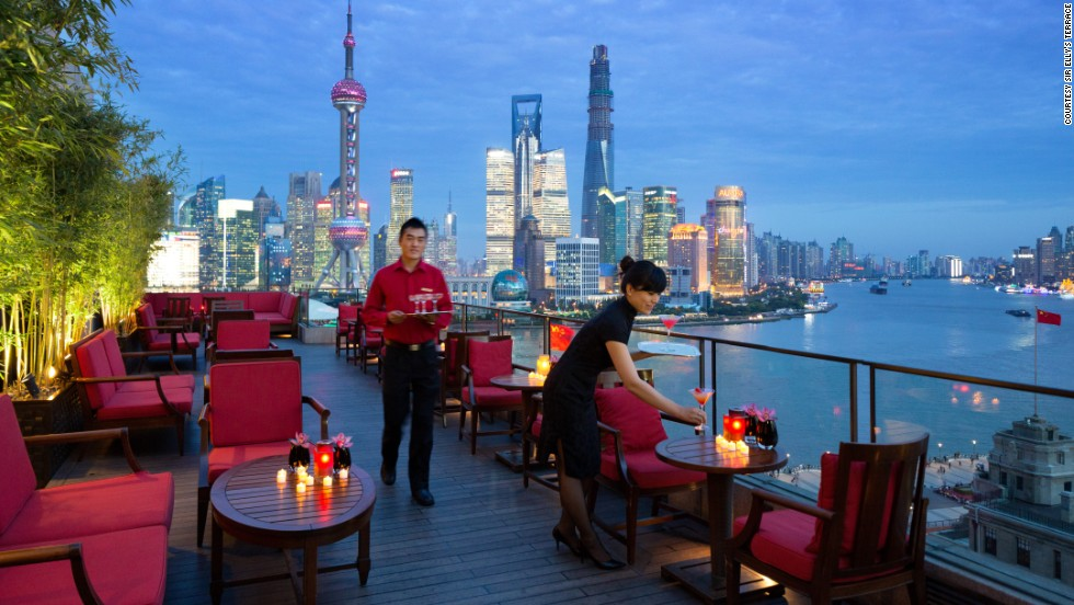 Sir Elly's Terrace at The Peninsula Shanghai promises good drinks, light snacks and the sense that, for an evening at least, the whole city is looking up to you.