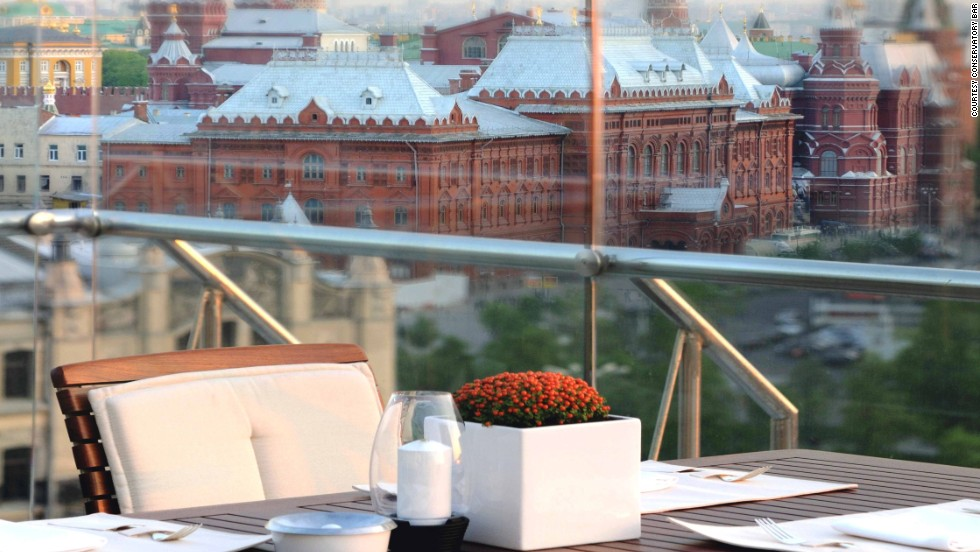 Some of the best views of Moscow, with the Kremlin and the Bolshoi close by, are found at the Conservatory Lounge & Bar at Ararat Park Hyatt Moscow.