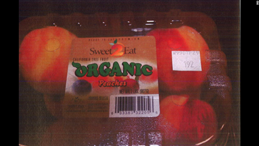 Costco organic peaches in clamshell packaging (2 lbs./8 per carton)