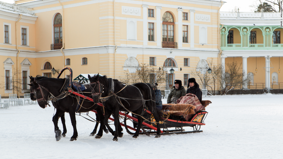 "Bourdain and his friend Zamir Gotta bundled up, flasks in hand, for a sleigh ride on a traditional Russian troika. ""It's rude. It's boozy. Vladimir Putin won't like it,"" <a href=""http://www.cnn.com/video/shows/anthony-bourdain-parts-unknown/season-3/russia/"">Bourdain said of this episode set in Russia</a>."