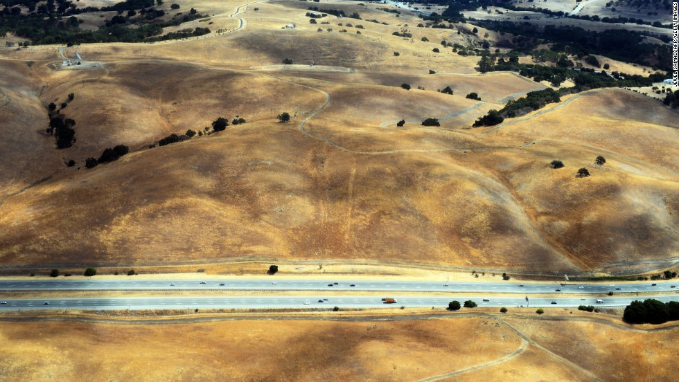 This picture taken from a helicopter shows a drought-affected area near Los Altos Hills, California, in July 2014.