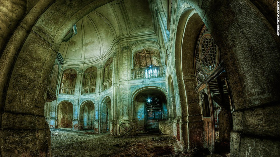 "Many of Makowska's images are given enigmatic names. This photograph, possibly of a derelict church, is titled ""Darkness."""