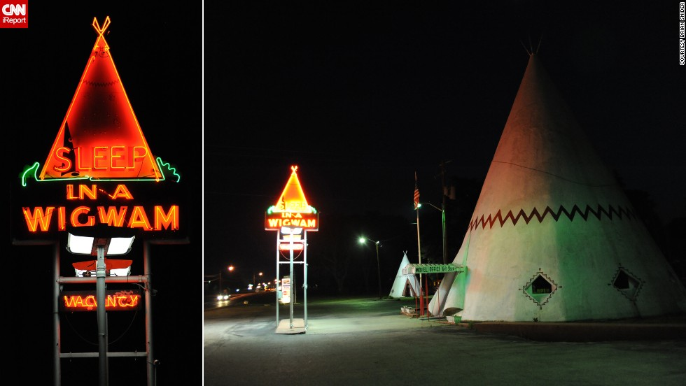 "There was no stopping Brian Snider's wife from staying at the <a href=""http://ireport.cnn.com/docs/DOC-1152579"">Wigwam Motel</a> in Cave City, Kentucky, where the family slept in teepees. ""She likes all things 'roadside America,'"" he said. Of the original seven locations, only three still exist, including this one."