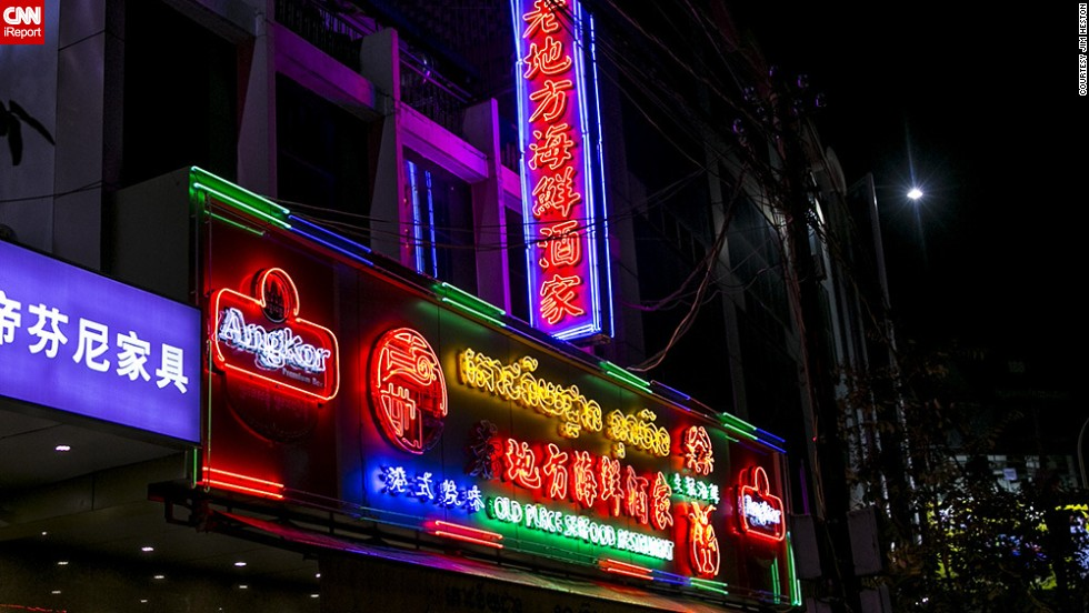 "Neon seems to be a requirement for <a href=""http://ireport.cnn.com/docs/DOC-1152834"">Chinese and seafood restaurants</a> in Phnom Penh, joked Heston, who has lived there for more than a decade. ""Brilliant displays of Khmer, Chinese and English script as well as an assortment of lobster, shrimp, crab and fish adorn the signs of these restaurants that do a great deal of trade,"" he said."
