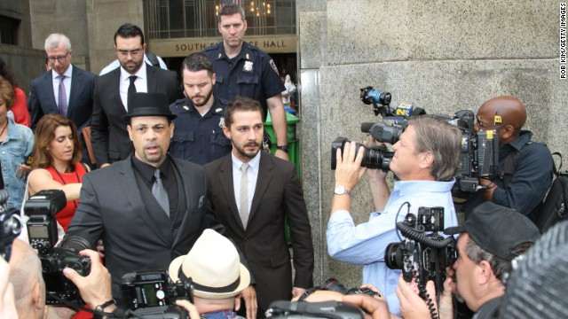 Actor Shia LaBeouf, center, was in court in New York on Thursday.