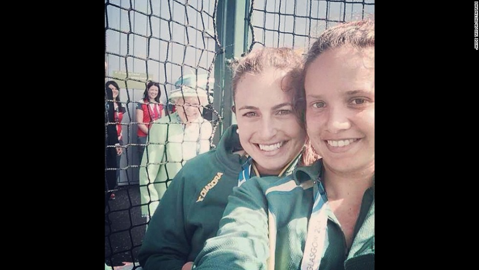 "Britain's Queen Elizabeth II is seen in <a href=""https://twitter.com/_JaydeTaylor/statuses/492269017215012864"" target=""_blank"">this selfie tweeted</a> Thursday, July 24, by Jayde Taylor, an Australian field hockey player. ""Ahhh The Queen photo-bombed our selfie!!"" wrote Taylor, seen here to the left of teammate Brooke Paris. They were in Glasgow, Scotland, to compete at the Commonwealth Games."