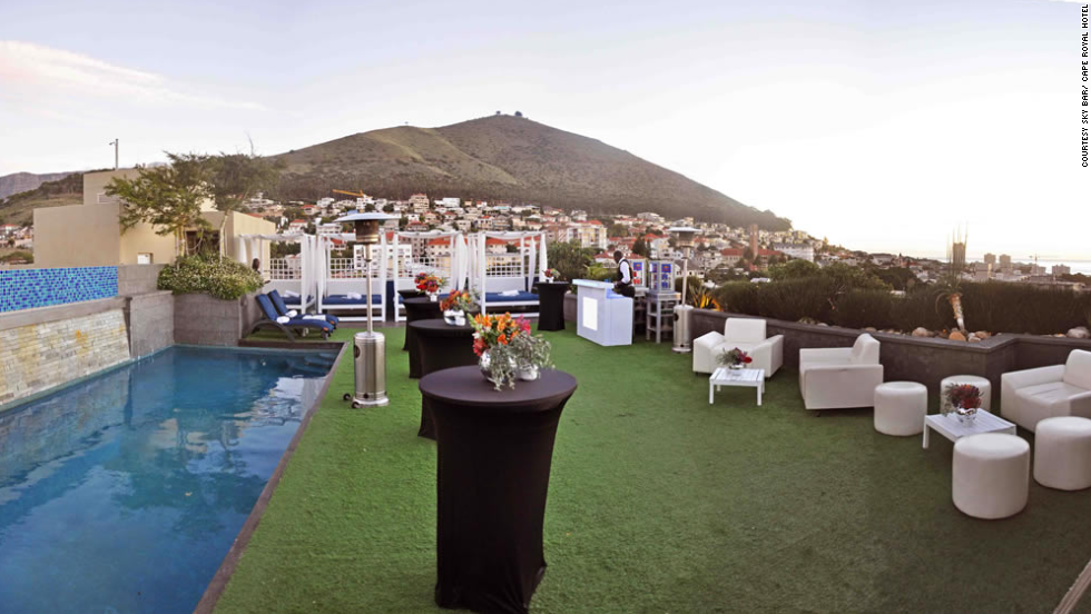 The al fresco area of the Sky Bar at Cape Royale Hotel & Spa in Cape Town was renovated in 2013. It overlooks Greenpoint Stadium, the Atlantic Ocean and Signal Hill.