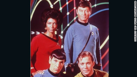 Leonard Nimoy, William Shatner, DeForest Kelley and Nichelle Nichols, in TV series Star Trek.