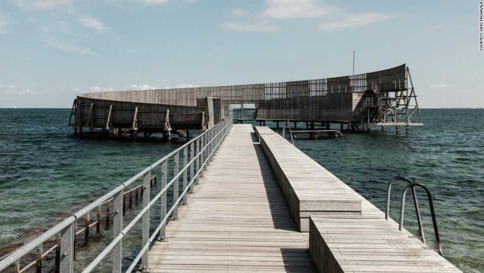 Kastrup Pier in Denmark has a structure at the end that encircles an outdoor swimming area.