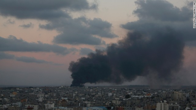 Smoke from an Israeli strike rises over Gaza City, Friday, July 25, 2014. Israel says the goal of its operation is to destroy Hamas military tunnels under the Gaza-Israel border and to halt rocket fire from Gaza on Israeli communities. (AP Photo/Lefteris Pitarakis)