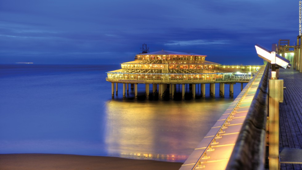 Scheveningen Pier in The Netherlands stands out because of its unusual construction, which comprises four island-type sections and upper and lower areas.