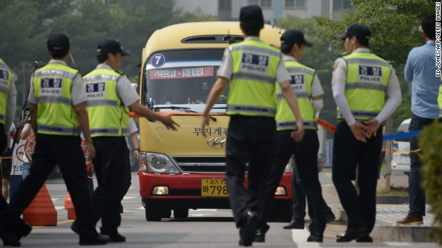 Students who had been on board the ferry arrived at the Ansan, South Korea, courthouse under a heavy police presence Monday.
