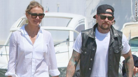 Cameron Diaz and Benji Madden stroll hand-in-hand while on vacation in France on July 26.