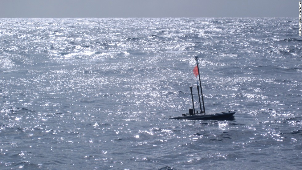 The Wave Glider in a moment of respite during its hurricane tracking mission.