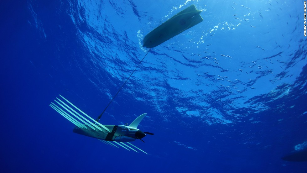The Wave Glider SV3 from Liquid Robotics. The craft's hybrid propulsion system utilizes solar panels above and wave power below.
