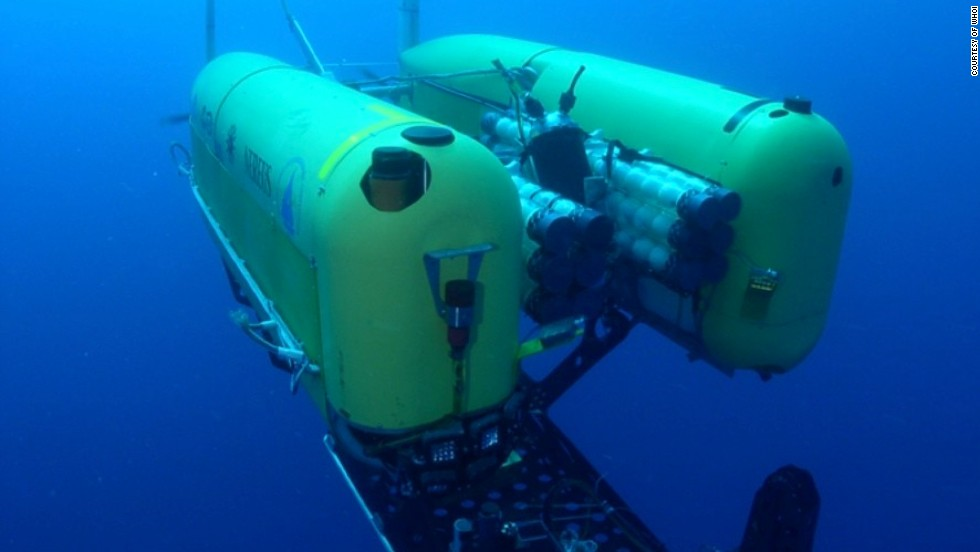 "The <a href=""http://www.whoi.edu/main/nereus"" target=""_blank"">Nereus Autonomous Underwater Vehicle</a> from the Woods Hole Oceanographic Institute (WHOI), which has carried out research at record depths of 10,000 meters."