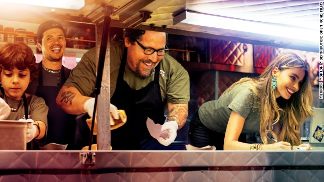 "Scene from ""Chef"" starring Jon Favreau (glasses) and Sofia Vergara (right)"