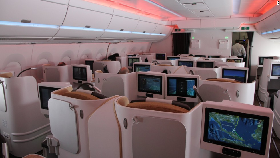 The business class cabin. The first customer for the new plane is Qatar Airways, with delivery slated for December. The aircraft is going through its final tests to gain certification to come into service.