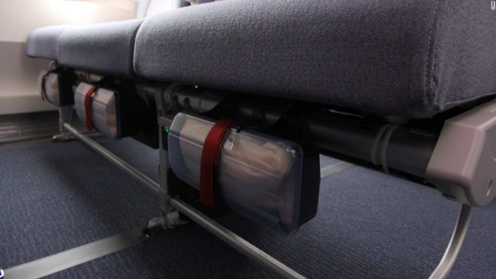 Life vests are still stowed under the seats. As well as a handy power point.