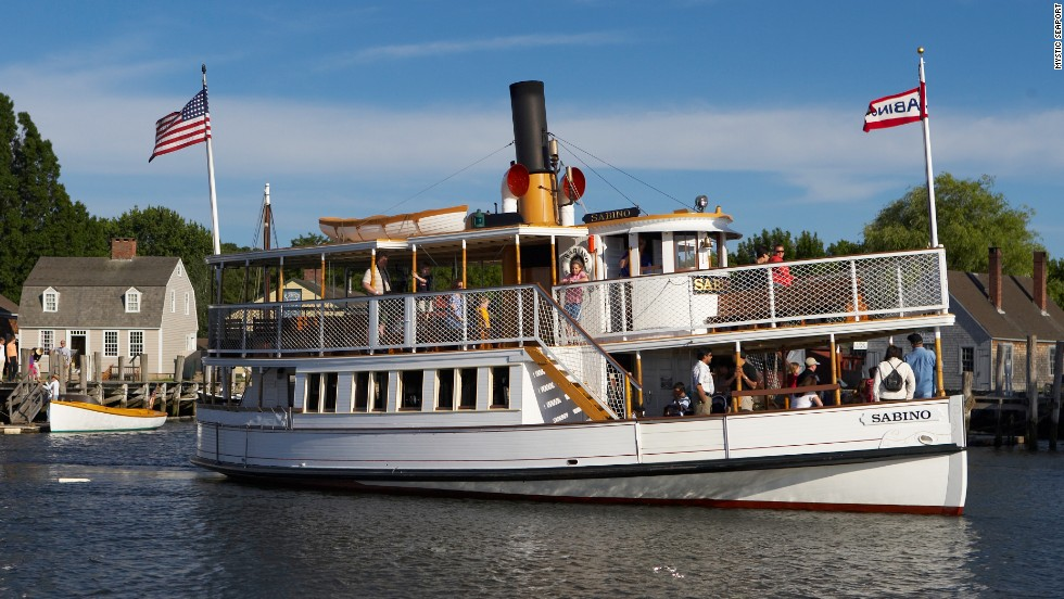 Built in 1908, Mystic, Connecticut's Sabino is still powered by its original steam engine and is believed to be the oldest coal-fired steamboat still operating in the United States.