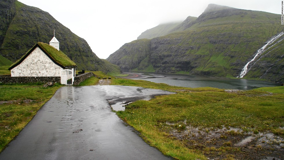One of the most picturesque churches in the Faroes is in Saksun. Surrounded by waterfalls and overlooking a narrow fjord, this church was built in 1858 with, naturally, a roof made of the surrounding turf.