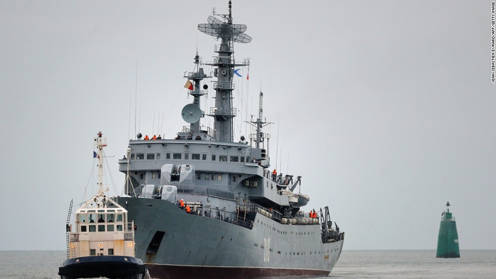 Russian sailors are training aboard a French Mistral ship in the port of Saint-Nazaire in France. The $1.6 billion sale of two Mistral carriers to Russia has sparked criticism from other Western countries.