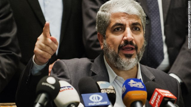 Hamas Leader Khaled Meshaal gives a press conference at the Intercontinental Hotel on November 21, 2012 in Cairo, hours after Egyptian Foreign Minister Mohammed Kamel Amr announced that a truce had been agreed between Israel and Hamas to end a week of bloodshed in and around Gaza. AFP PHOTO/GIANLUIGI GUERCIA        (Photo credit should read GIANLUIGI GUERCIA/AFP/Getty Images)