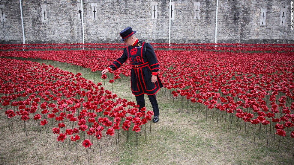 "Yeoman Sgt. Bob Loughlin admires an installation entitled ""Blood Swept Lands and Seas of Red"" by artist Paul Cummins on Monday, July 28. Set up in the moat at the Tower of London, the installation is made up of 888,246 ceramic poppies representing Allied victims from World War I."