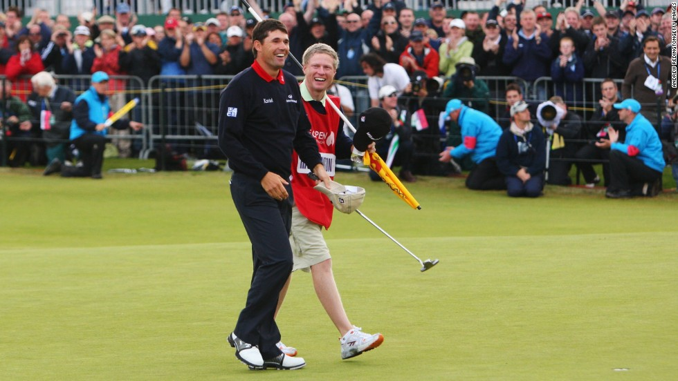 Harrington credits Flood with winning him the British Open in 2007. With a one-shot lead going down the last, Harrington found the water twice. But Flood talked him back into the zone and he went on to win his first major by way of a playoff.