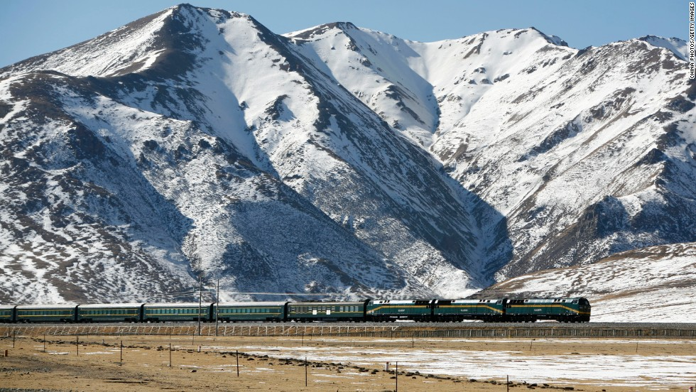 China claims the world's highest railway. The Tanggula Pass at more than 5,000 meters in the Tanggula Mountains can be traversed via the Qinghai-Tibet Railway.