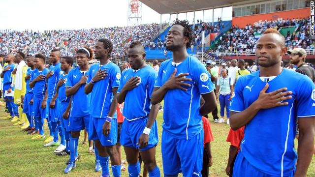 The Sierra Leone football team line up before a World Cup qualifying match against Tunisia in June 2013.