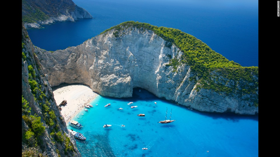 Only accessible by boat, secluded Navagio Beach on the Ionian Island of Zakynthos is one of Greece's most beautiful stretches of sand.