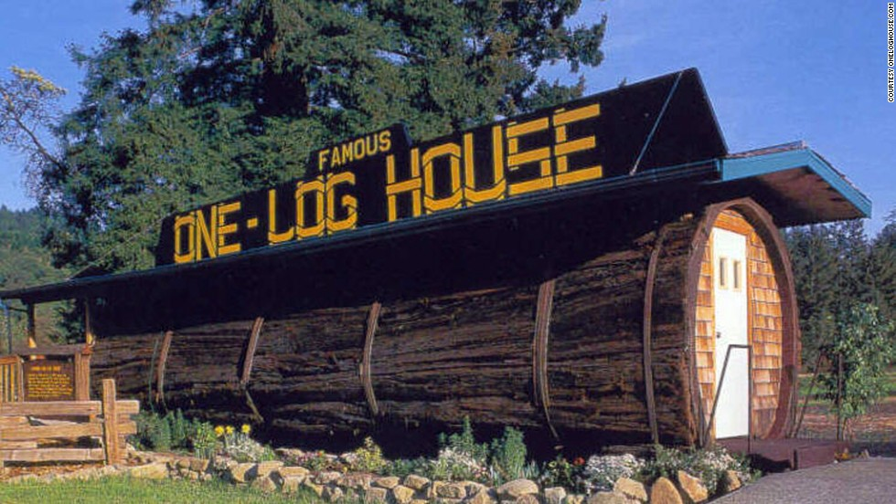 A 32-foot redwood on wheels, the One Log House once served as a mobile home for Art Schmock, traveling to county fairs across the United States, but now serves as a cafe in Garberville, California