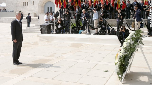 Caption:LIEGE, BELGIUM - AUGUST 04: King Philippe of Belgium lays a wreath as he takes part in a WW1 100 Years Commomoration Ceremony at Le Memorial Interallie on August 4, 2014 in Liege, Belgium. Monday 4th August marks the 100th Anniversary of Great Britain declaring war on Germany. In 1914 British Prime Minister Herbert Asquith announced at 11pm that Britain was to enter the war after Germany had violated Belgium's neutrality. The First World War or the Great War lasted until 11 November 1918 and is recognised as one of the deadliest historical conflicts with millions of casualties. A series of events commemorating the 100th Anniversary are taking place throughout the day. (Photo by Chris Jackson/Getty Images)