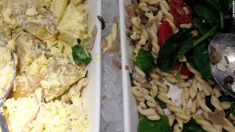 Time Warner Center's Park Cafe, New York: Potato salad and pasta salad, side by side