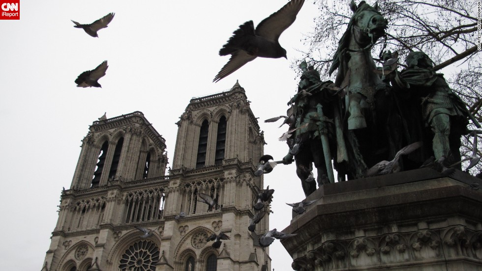 "Pigeons are infamous residents in Paris, leaving their droppings on the city's famous monuments. These rock pigeons flew into <a href=""http://ireport.cnn.com/docs/DOC-1153948  "">Doug Simonton</a>'s shot of the Notre Dame Cathedral."