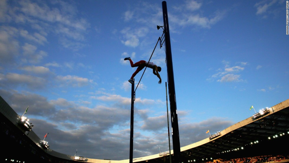 Steven Lewis of England competes in the pole vault Friday, August 1, at the Commonwealth Games in Glasgow, Scotland. He won after clearing 5.55 meters (18.04 feet).
