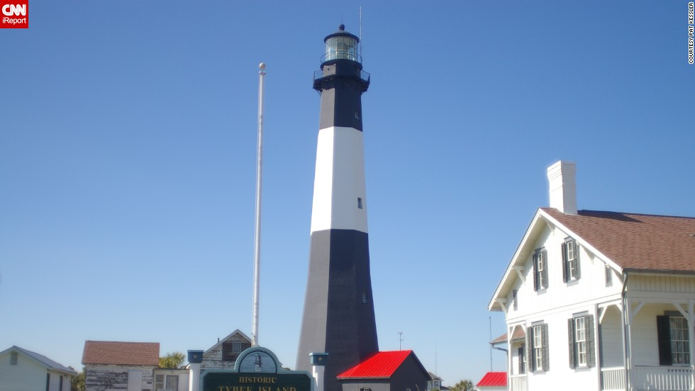 """<a href=""""http://ireport.cnn.com/docs/DOC-1156912"""">Pat Kessler</a> captured the well-known lighthouse in Tybee Island, Georgia, in 2007. """"I hadn't been that close to a lighthouse before, and its long stately shape"""" made it memorable in his mind, he said."""